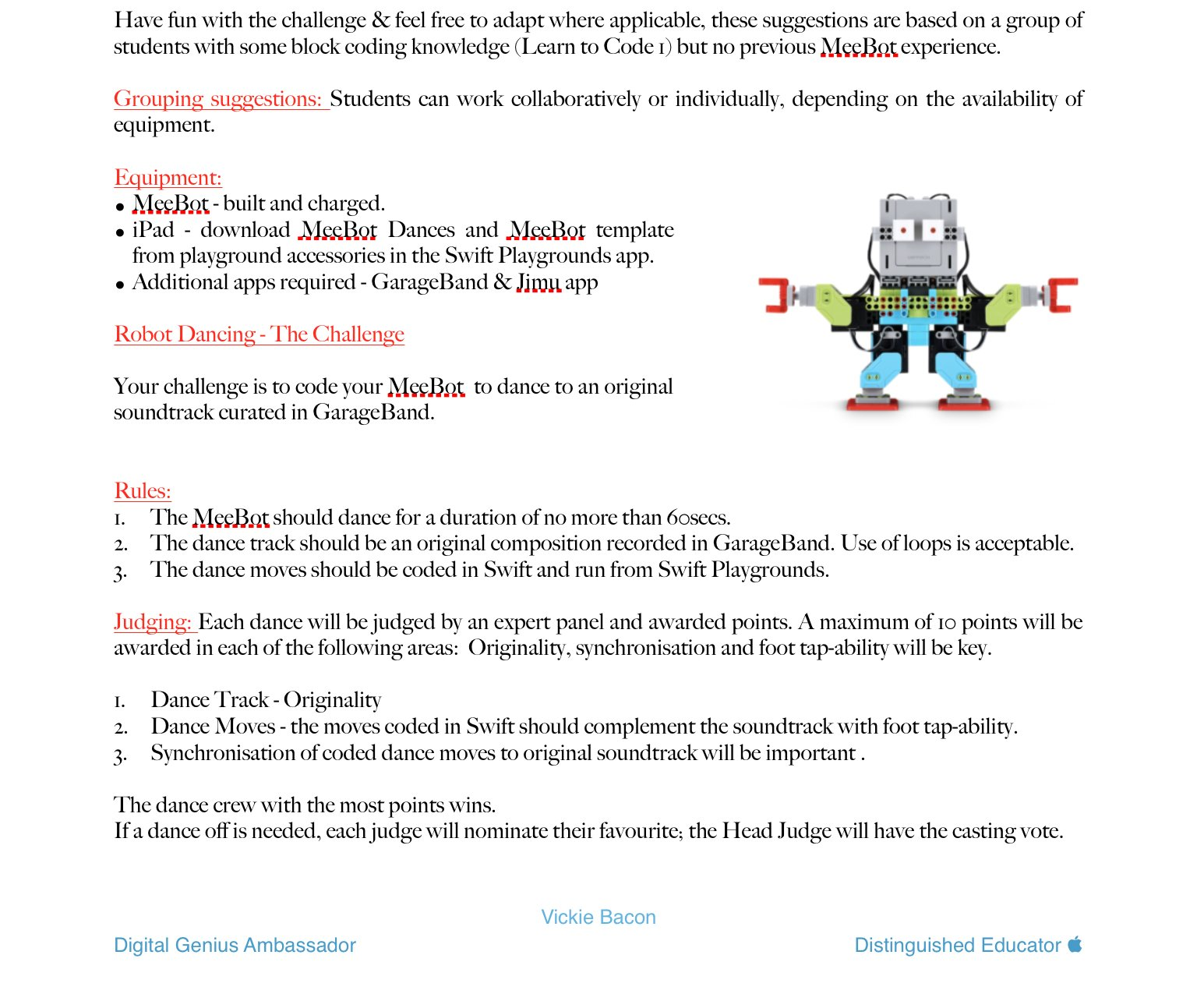 Dancing Robot Challenge – Starters guide – Digital Pencil Case